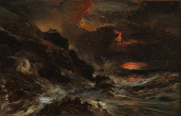 A Storm off the Normandy Coast Print by Eugene Isabey