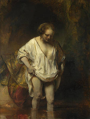 A Woman bathing in a Stream. Hendrickje Stoffels Print by Rembrandt