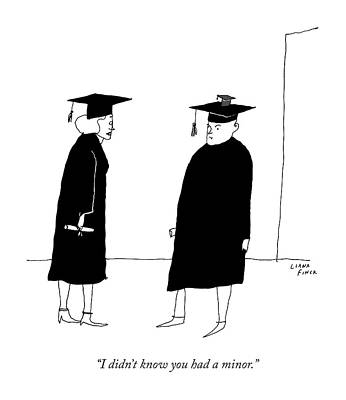 Graduation Cap Drawing - A Woman In A Graduation Cap And Gown Speaks by Liana Finck