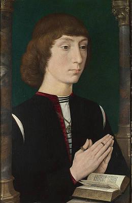 A Young Man at Prayer Print by Hans Memling