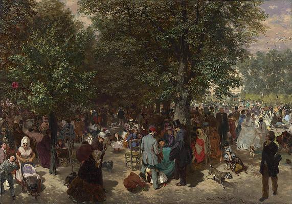 Afternoon in the Tuileries Gardens Print by Adolph von Menzel