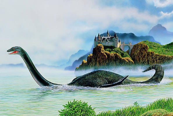 Blue Green Loch Ness Creature ACEO Art Print from original painting dcurtis