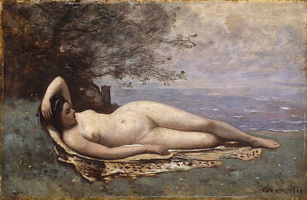 Bacchante by the Sea Print by Jean-Baptiste-Camille Corot