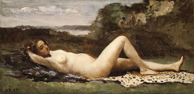 Bacchante in a Landscape Print by Jean-Baptiste-Camille Corot