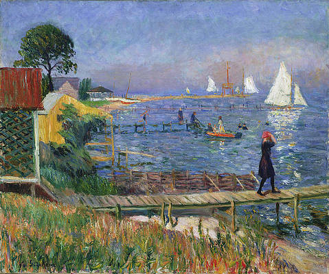 Bathers at Bellport Print by William Glackens
