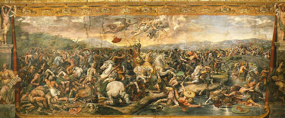 Battle at Pont Milvius. Print by Raphael