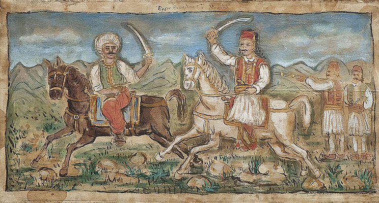 Battle scene with Greek and Turk Print by Theofilos