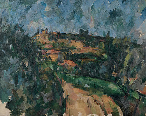 Bend Of The Road At The Top Of The Chemin Des Lauves Print by Paul Cezanne