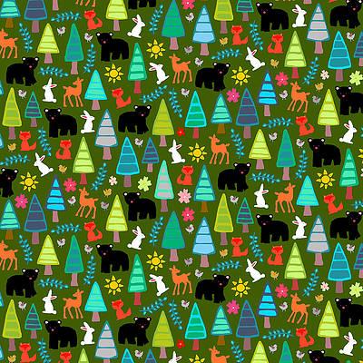 Wild Flower Drawing - Black Bear Woodland by MGL Meiklejohn Graphics Licensing