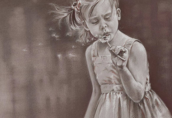 Realistic Flower Drawing - Blowing in the Wind by Natasha Denger
