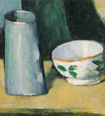 Bowl and Milk Jug Print by Paul Cezanne