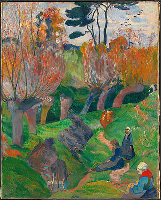 Brittany Landscape with cows Print by Paul Gauguin