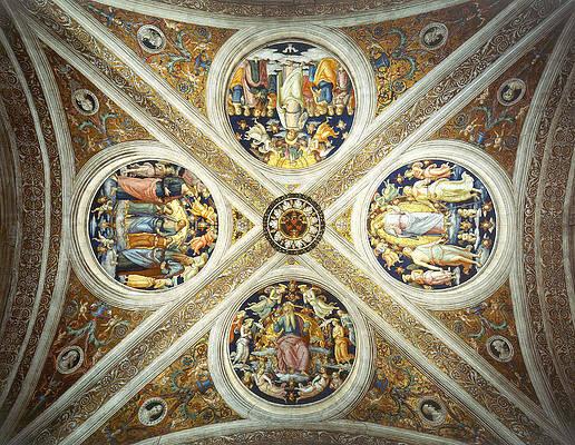Ceiling of the Stanza dell Incendio del Borgo. Print by Raphael