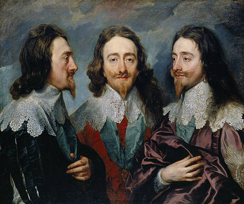 Charles I in Three Positions Print by Anthony van Dyck