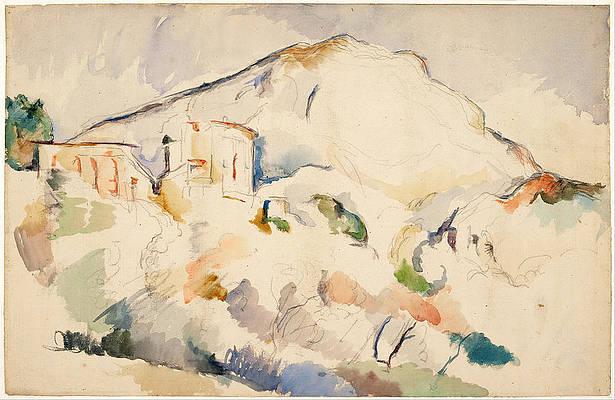Chateau Noir and Mont Sainte Victoire Print by Paul Cezanne