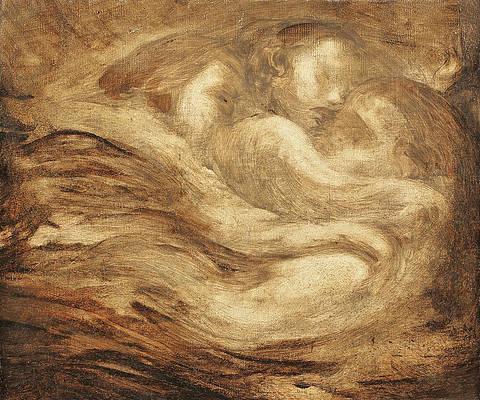 Children Asleep Print by Eugene Carriere