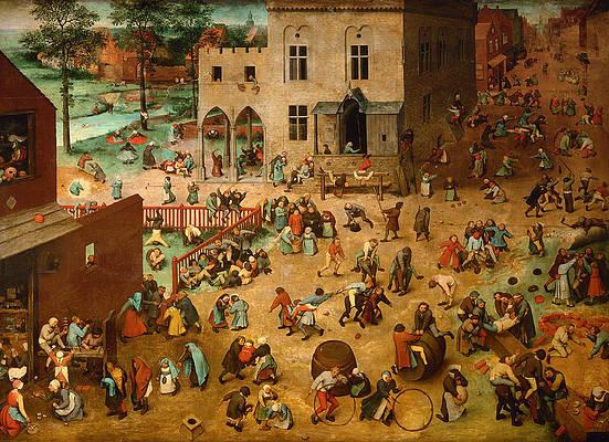 Childrens Games Print by Pieter Bruegel the Elder