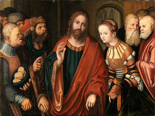 Christ and the Adulteress Print by Lucas Cranach the Elder