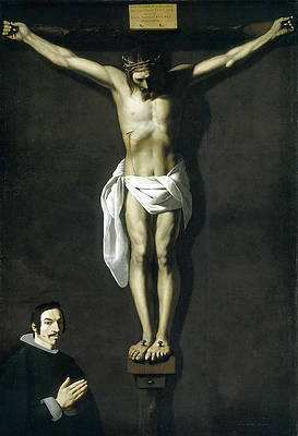 Christ Crucified with Donor Print by Francisco de Zurbaran
