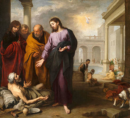 Christ healing the Paralytic at the Pool of Bethesda Print by Bartolome Esteban Murillo