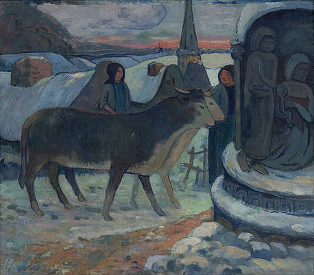 Christmas Night. The Blessing of the Oxen Print by Paul Gauguin