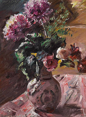 Chrysanthemums and Roses in a Pitcher Print by Lovis Corinth