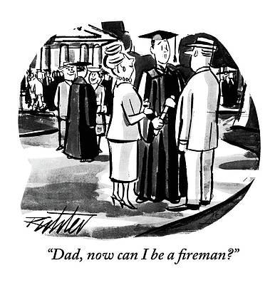 Graduation Cap Drawing - Now Can I Be A Fireman? by Mischa Richter