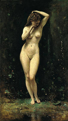 Diana Bathing. The Fountain Print by Jean-Baptiste-Camille Corot