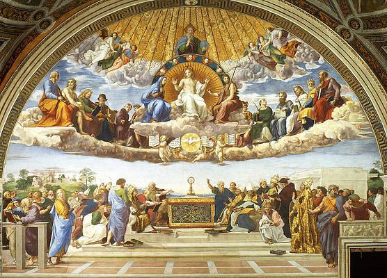 Disputation of Holy Sacrament. Print by Raphael