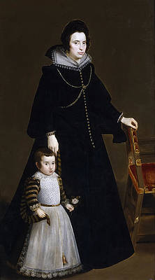 Dona Antonia de Ipenarrieta y Galdos and Her Son Don Luis Print by Diego Velazquez