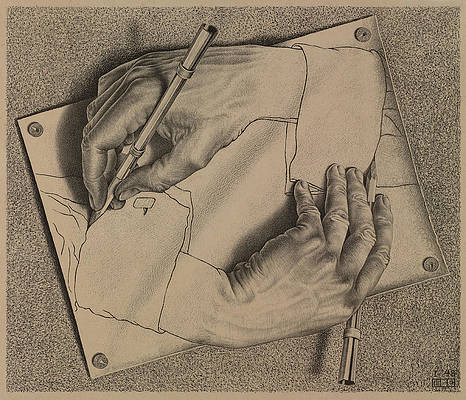 Paperworks Wall Art - Painting - Drawing Hands by Maurits Cornelis Escher