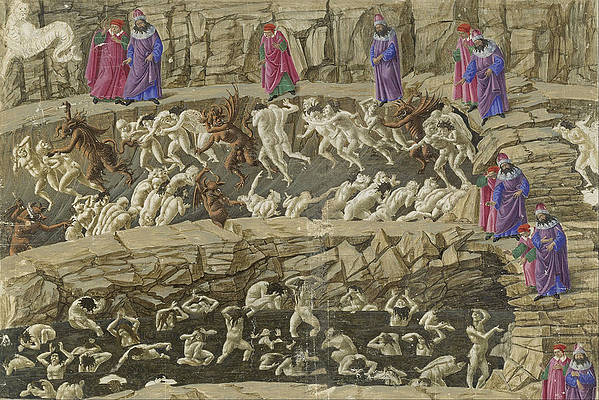 Drawings for Dantes Divine Comedy Print by Sandro Botticelli