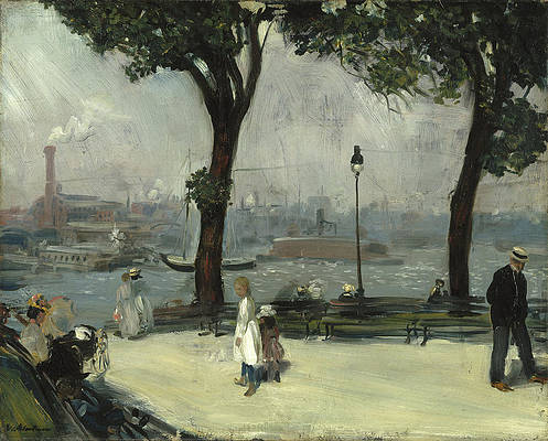 East River Park Print by William Glackens