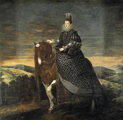 Equestrian Portrait of Margarita of Austria Print by Diego Velazquez
