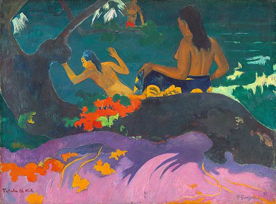 Fatata te Miti.By the Sea Print by Paul Gauguin