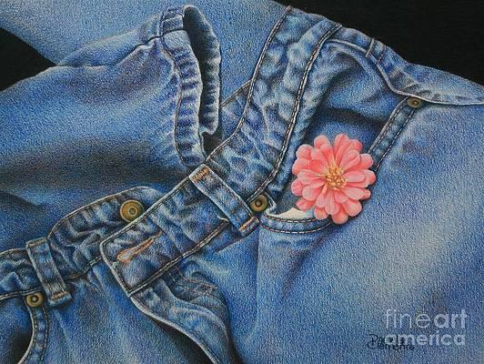 Реалистичный рисунок цветка - Любимые джинсы от Памелы Клементс