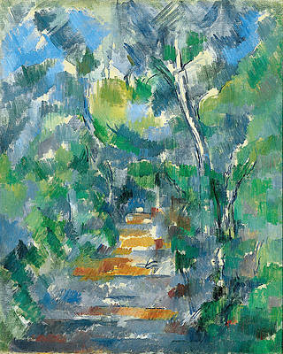 Forest Scene .Path from Mas Jolie to Chateau noir Print by Paul Cezanne