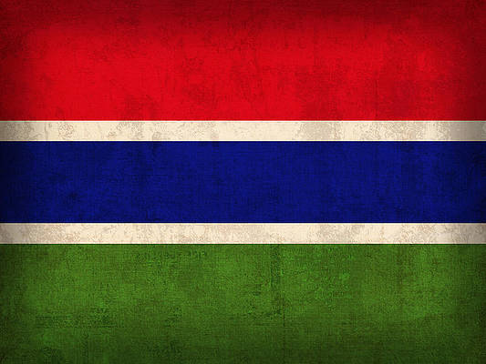 Gambia Medium Hand Waving Flag