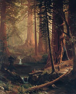 Giant Redwood Trees of California Print by Albert Bierstadt