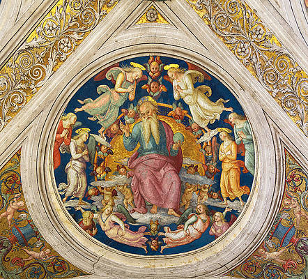 God the Father and angels Print by Raphael