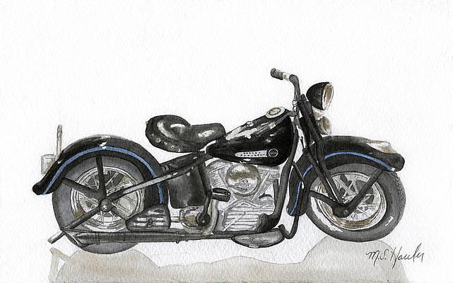 1964 Panhead print with pinstriping