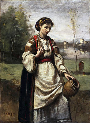 Gypsy Girl at a Fountain Print by Jean-Baptiste-Camille Corot