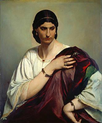 Half-Length Portrait of a Roman Woman Print by Anselm Feuerbach
