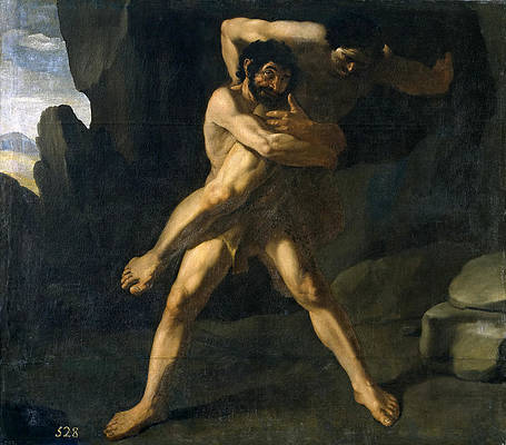 Hercules Wrestling with Antaeus Print by Francisco de Zurbaran