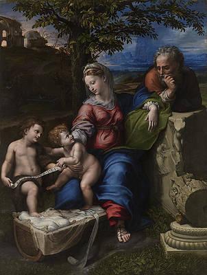Holy Family below the Oak Print by Raphael