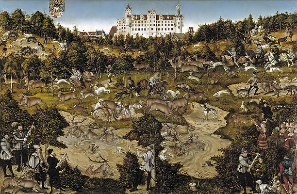 Hunting in honor of Charles V near the Castle of Torgau Print by Lucas Cranach the Elder