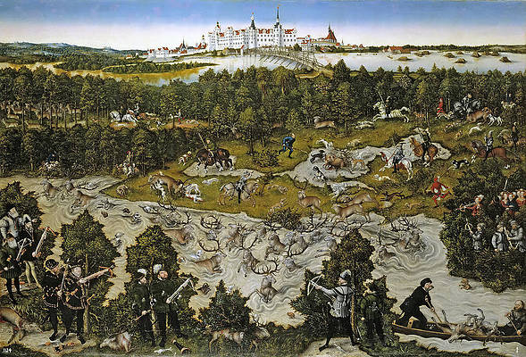Hunting in honor of Ferdinand I of the castle near Torgau Print by Lucas Cranach the Elder