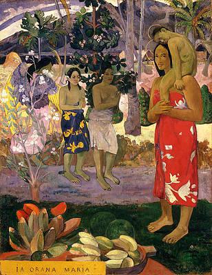 Ia Orana Maria .Hail Mary Print by Paul Gauguin