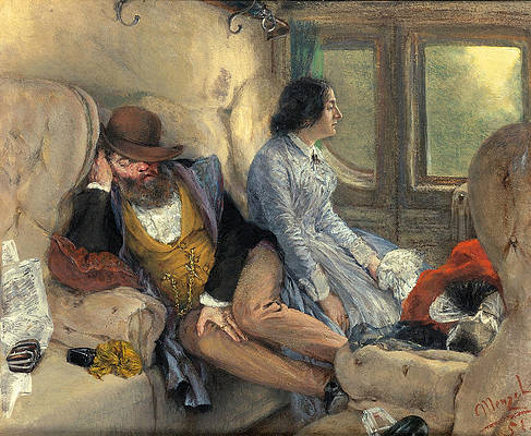 In a Railway Carriage after a Nights Journey Print by Adolph von Menzel