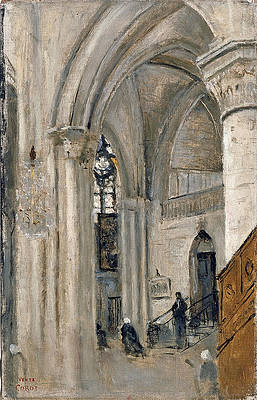 Interior of the Church at Mantes Print by Jean-Baptiste-Camille Corot